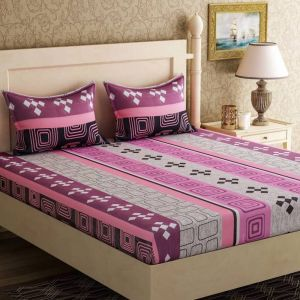 Furnishings - 100 Percent Cotton Double Bedsheet & 2 Pillow Covers - (code - RG-NCB-456)