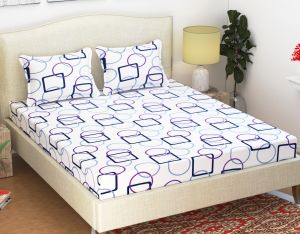 Double Bed Sheets - 100 Percent Cotton Double Bedsheet & 2 Pillow Covers - (code - RG-NCB-456)