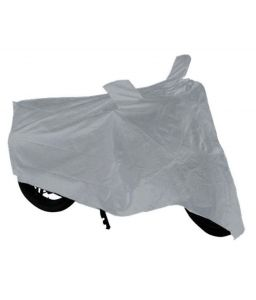 Bike Body Cover Silver With Mirror Pocket For Bajaj Platina 100 Dts-i