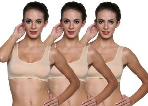 Wetex Premium Pack Of 3 Seamless Nude Air Bra Free Size (product Code - Air Bra-skn-po-3)