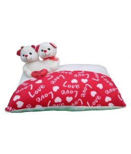 Red White Sweet Teddy Bear Cushion Pillow