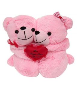 Pink Teddy Pair With Heart Teddy Bear