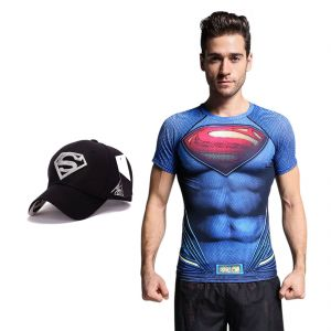 Superman Dry Fit 3d Gym Compression T-shirt With Baseball Cap Free For Men By Treemoda (code -tm_cc_cap_combo_1)