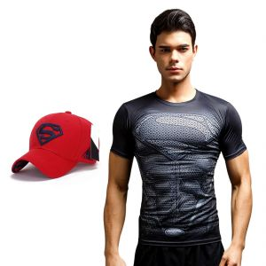 Superman Dry Fit 3d Gym Compression T-shirt With Baseball Cap For Men By Treemoda (code -tm_cc_cap_combo_24)