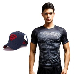 Superman Dry Fit 3d Gym Compression T-shirt With Baseball Cap For Men By Treemoda (code -tm_cc_cap_combo_25)