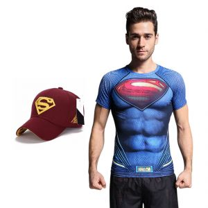 Superman Dry Fit 3d Gym Compression T-shirt With Baseball Cap Free For Men By Treemoda (code -tm_cc_cap_combo_3)
