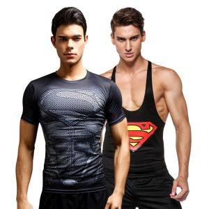 3d Compression Tank Top And Dry Fit Gym T-shirt By Treemoda Comic Collection (code - Tm_cc_combo_114)