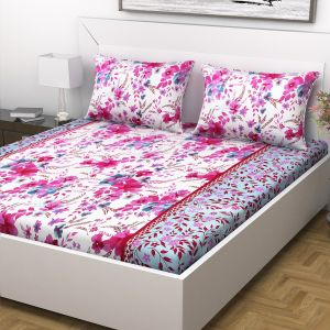 Indiana Home 100% Cotton 144 Tc Double Bed Sheet With 2 Pillow Covers |pink |floral