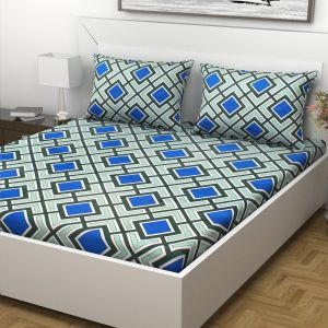 Indiana Home 100% Cotton 144 Tc Double Bed Sheet With 2 Pillow Covers | Blue |geometric