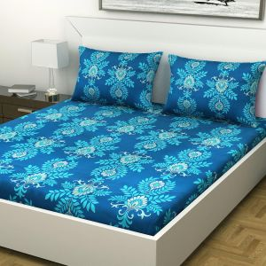 Indiana Home 100% Cotton 144 Tc Double Bed Sheet With 2 Pillow Covers|blue |floral