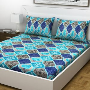 Indiana Home Floral Cotton Blue Colour Double Bed Sheet With 2 Pillow Cover (code - Elg1003)