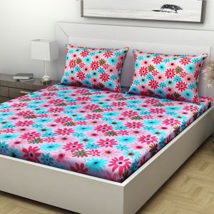 Indiana Home Floral Print Multicolour Cotton Double Bed Sheet With 2 Pillow Cover (Code - ELG1021)