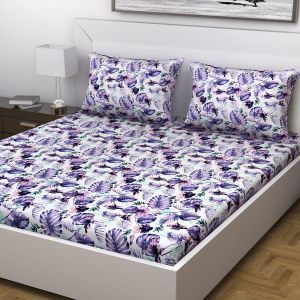 Indiana Home Floral Print Purple Colour Cotton Double Bed Sheet With 2 Pillow Cover (code - Elg1026)