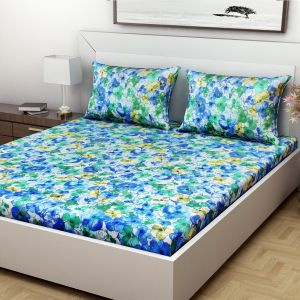 Indiana Home Floral Print Green Colour Cotton Double Bed Sheet With 2 Pillow Cover (code - Elg1029)