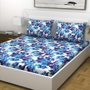 Indiana Home Blue Floral Cotton Double Bed Sheet With 2 Pillow Cover (code - Elg1036)