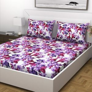 Indiana Home Floral Print Purple Colour Cotton Double Bed Sheet With 2 Pillow Cover (code - Elg1037)