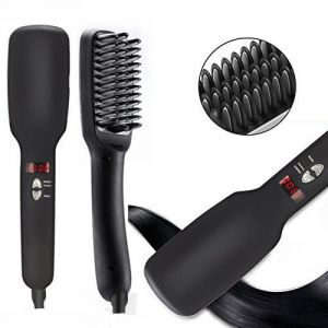Electric Hair Straightening Brush With Ceramic LCD Digital Display For Fast Natural Straight Hair Styling Brush Comb