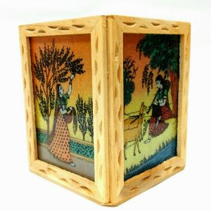 Arts Of India Beige Wooded Pen Stand (code - Sepss4p)