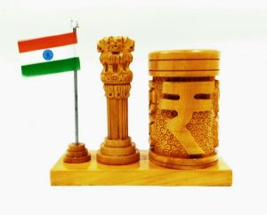 Arts Of India Wooden Handcrafted Penholder With Ashoka Stambh And India Flag (code - Seaph4 )