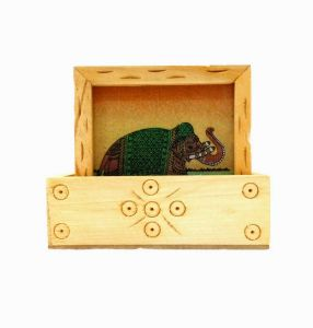 Arts Of India Wooden Square Coasters Elephant Design- Pack Of 6 (code - Septc-1)