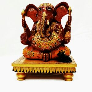 Arts Of India Wooden Handcrafted Appu Ganesh In Sitting Posture (code Seagp6)