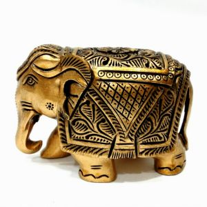 Arts Of India Handcrafted Wooden Decorative Elephant Metallic Finish 5 Inches (code - Seejb5)