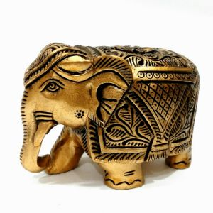 Arts Of India Handcrafted Wooden Decorative Elephant Metallic Finish 4 Inches (code - Seejb4)
