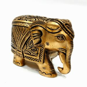 Arts Of India Handcrafted Wooden Decorative Elephant Metallic Finish 3 Inches (code - Seejb3 )