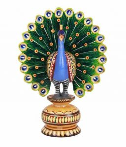 Arts Of India Wooden Handcrafted Dancing Peacock Open Wing Painted (code - Sepowp3)