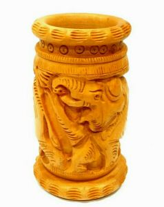 Arts Of India Wooden Handcrafted Decorative Pen Stand (code - Sepsp4)