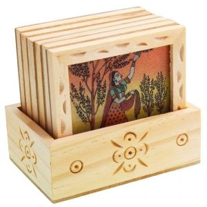Arts Of India Wooden Square Coasters - Pack Of 6 (code - Septc)