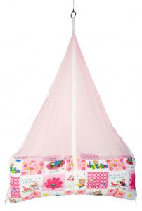 Jaze Baby Jhula Cradle With Baby Essential Freebie Set - Pink Bear