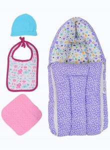Jaze Baby - Multipurpose 3-in-1 Baby Carry Bed With Baby Essential Freebie Set - Lovely Lavender