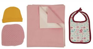 Jaze Baby - Dry Sheet Bed Protector With Baby Essential Freebie Set - Size Medium - Baby Pink