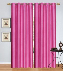Dolly Home Set Of 2 Door Eyelet Curtains Plain Pink