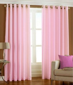 Vardaan Home Set Of 2 Door Eyelet Curtains Plain Light Pink
