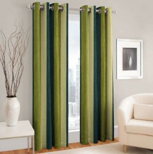Dolly Handloom Polyester Door Curtain 213 Cm Pack Of 2 (plain Green)