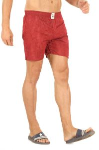 Boxers (Men's) - Mr. Stag Men's Red Cotton Printed Boxer (Code - BOXER 003)