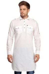 Ethnic Wear (Men's) - Mr.stag Cotton Men's White Pathani Style Long Kurta With Pockets (Code - KURTAL001-PA)