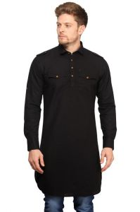 Kurtas (Men's) - Mr.stag Cotton Men's Black Pathani Style Long Kurta With Pockets  (Code - KURTAL003-PA)