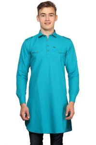 Kurtas (Men's) - Mr.stag Cotton Men's Blue Pathani Style Long Kurta With Pockets  (Code - KURTAL005-PA)