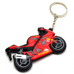 Suzuki Gsx R1000 Bike Logo Double Sided High Quality Silicone Red/black Key Chain