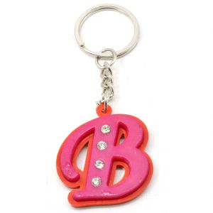 Faynci Alphabet Letter B With Attractive Diamonds Key Chain (available Color)
