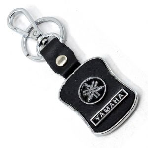 Leather Keychain Compatible For Car And Bike With Chrome Metal Locking Key Chain