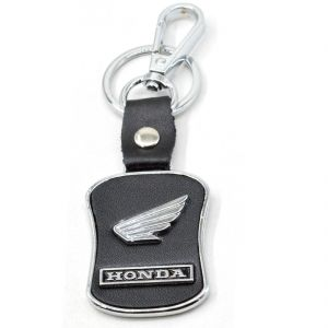 Black Leather Keychain Compatible For Car/bike With Chrome Metal Locking Key Chain