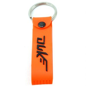 Double Sided Bike Logo Orange Silicone Hook Key Chain For Bike Lover