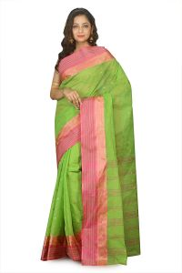 Parrot Green Cotton Hand Woven Tant Saree Without Blouse