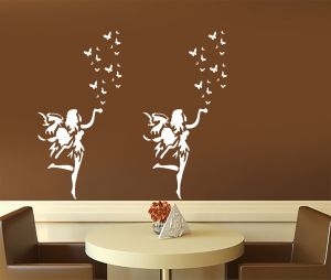 "Kayra Decor "" Fairy Land "" Reusable Wall Stencil In (16"" X 24"") Inches Plastic Sheet"