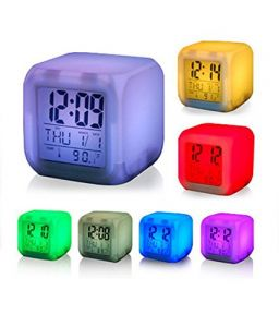 Ergode Square Color Changing Digital LCD Alarm Table Desk Clock With Calender Time Temperature Lights