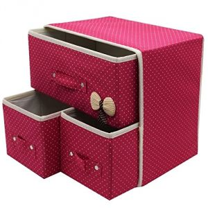 Gadgetbucket Folding 3 Drawer Fabric Storage Box Organizer For Clothing (1 PCs Colour May Vary)